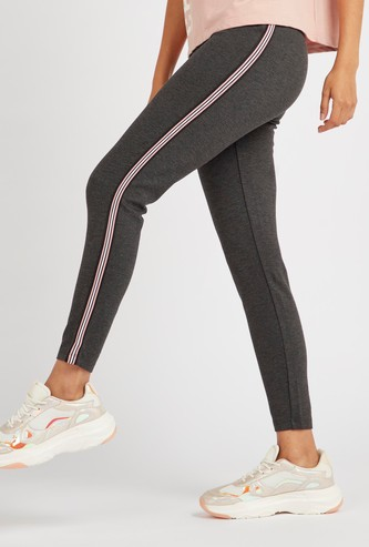 Regular Fit Ankle Length Side Striped Leggings with Elasticated Waist