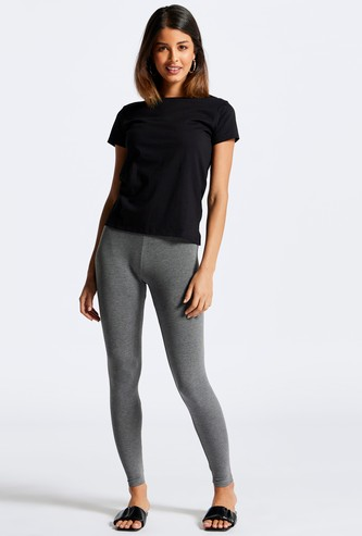 Solid Anti-Pilling Mid-Rise Leggings with Elasticised Waistband
