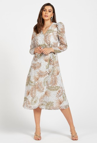 All-Over Print Midi Wrap Dress with Long Sleeves and Belt