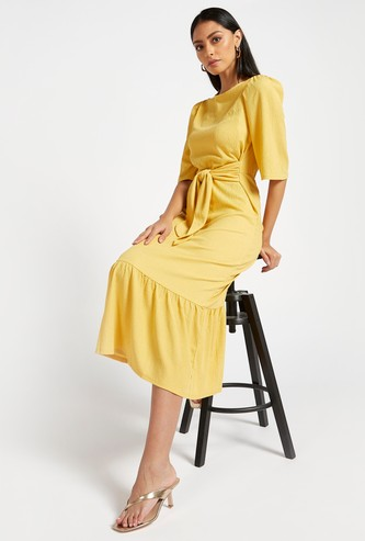 Textured Midi Tiered Dress with 3/4 Sleeves and Tie-Ups