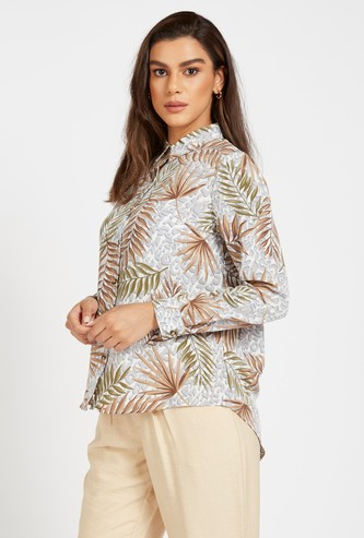 Tropical Print Shirt with Long Sleeves and Button Closure