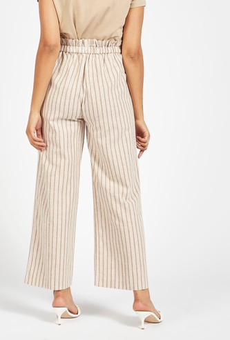 Striped Ankle Length Palazzos with Paperbag Waist and Button Closure