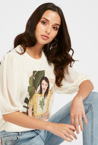 Graphic Print Round Neck T-shirt with 3/4 Sleeves
