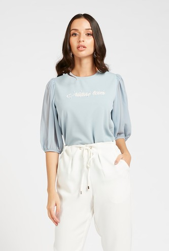 Embellished Detail Top with Crew Neck and 3/4 Sleeves