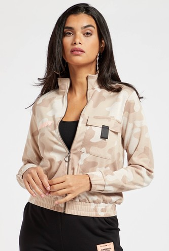 Camo Print Jacket with Long Sleeves and High Neck