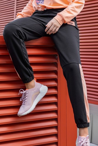 Contrast Panel Jog Pants with Pockets and Drawstring Closure