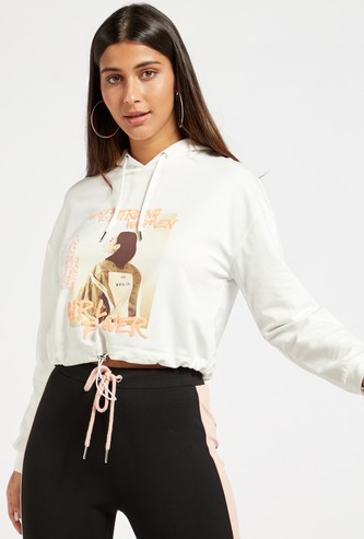 Graphic Print Hooded Cropped Sweat Top with Tie-Up Detail