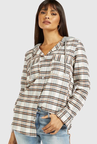 Checked Shirt with Hood and Long Sleeves