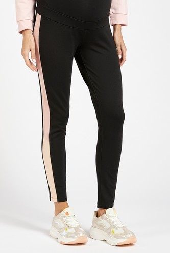 Tape Detail Mid-Rise Ankle Length Maternity Pants with Elasticated Waist