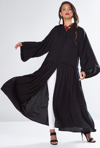 Pleated Abaya with Flared Sleeves