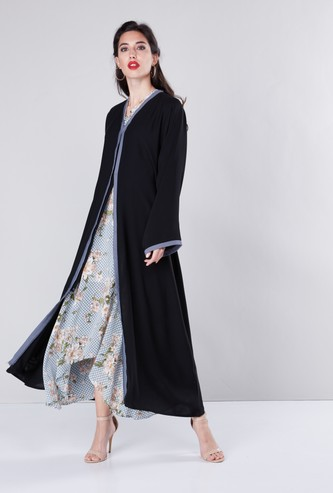 Solid Abaya with Long Sleeves and Tie Ups
