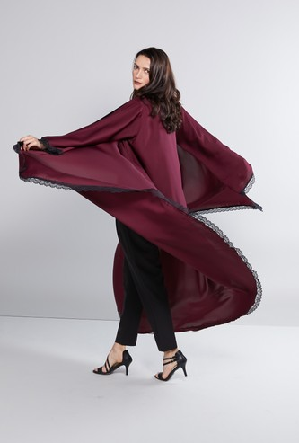 Long Sleeves Abaya with High Low Hem and Lace Trim