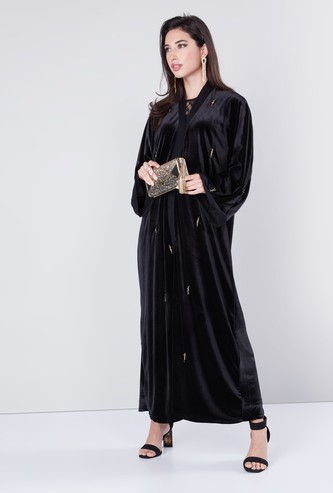 Embellished Abaya with Long Sleeves and Tassel Tie-Up Detail
