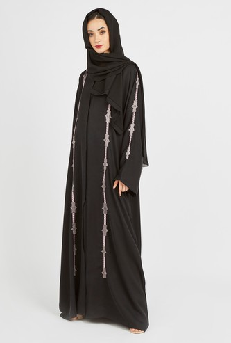 Contrast Embroidered Abaya with Long Sleeves