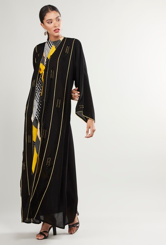 Embroidered V-Neck Abaya with Long Sleeves