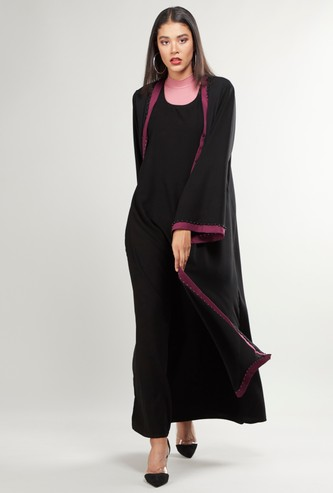 Plain Abaya with Long Sleeves and Tie Ups