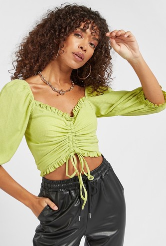Textured Crop Top with Puff Sleeves and Ruched Detail