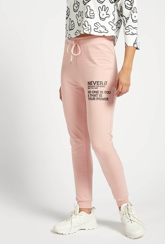 Text Print Jog Pants with Elasticised Waistband and Drawstring