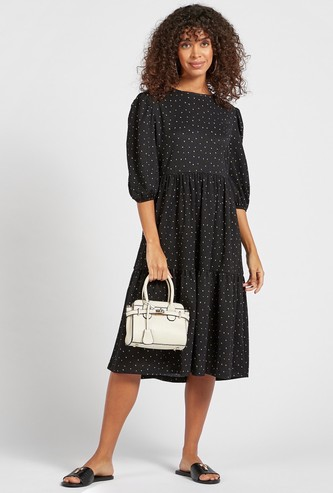Dots Print Tiered Midi Dress with Puffed Short Sleeves