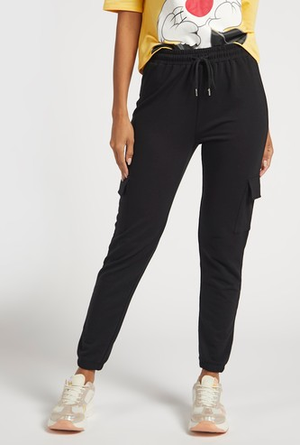 Solid Cargo Jog Pants with Pocket Detail and Drawstring Closure