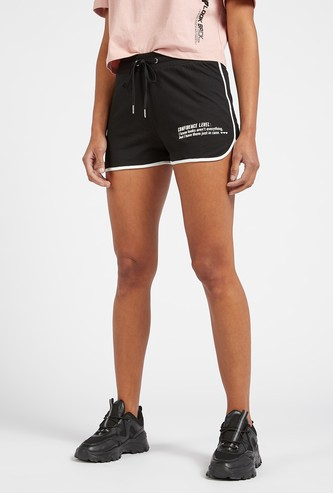 Text Print Shorts with Contrasting Piping Detail