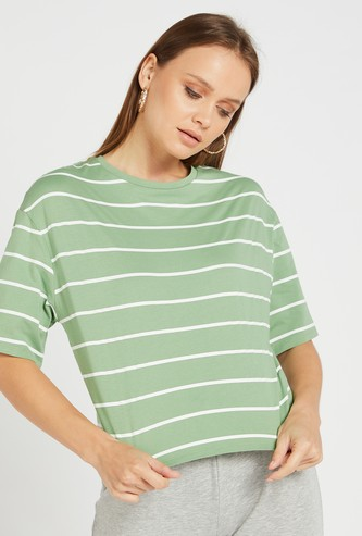 Striped Boxy T-shirt with Round Neck and Short Sleeves