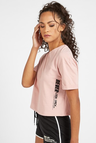 Text Print Boxy Crop T-shirt with Round Neck and Short Sleeves