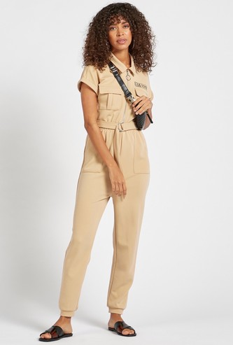 Solid Cap Sleeved Utility Jumpsuit with Collar and Flap Pockets