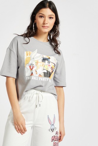 Looney Tunes Graphic Print T-shirt with Round Neck and Short Sleeves