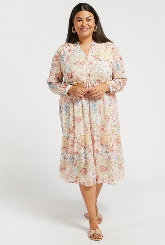 Floral Print Tiered Midi Dress with Long Sleeves