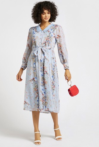 Floral Print A-line Midi Dress with Scalloped Collar and Long Sleeves