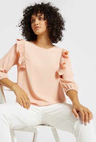 Solid Top with Ruffle Detail and 3/4 Sleeves