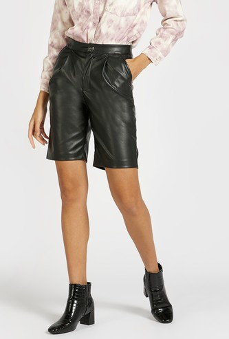 Solid Mid-Rise Bermuda Shorts with Button Closure and Pockets