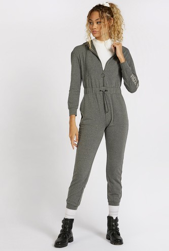 Typographic Print Jumpsuit with Hood and Zip Closure