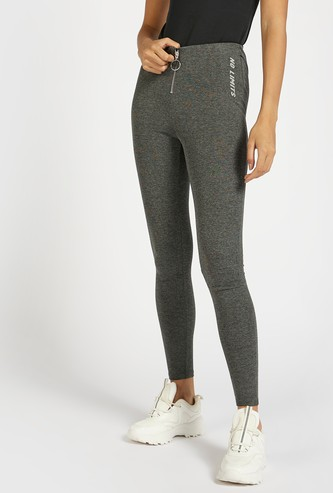 Solid High Waist Skinny Fit Treggings with Front Zip