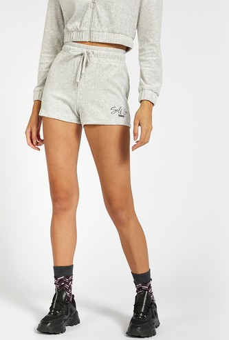 Typographic Detail Shorts with Drawstring Closure