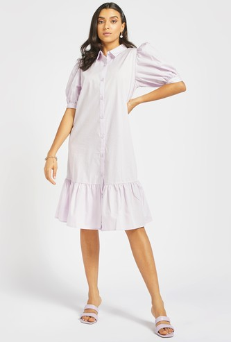 Solid Tiered Shirt Dress with Bishop Sleeves and Button Closure