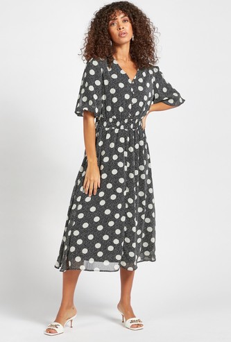 All-Over Printed V-Neck Midi Dress with Short Sleeves