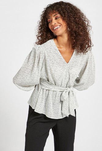 Printed Wrap Top with 3/4 Sleeves and Tie-Ups