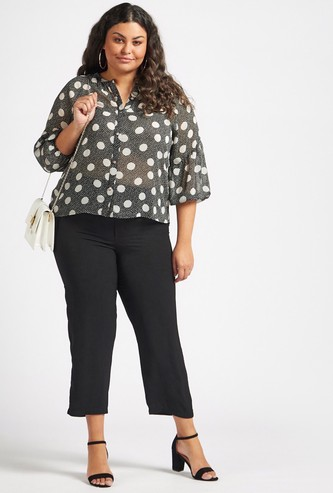 Solid Tapered Cropped Trousers with Elasticised Waistband