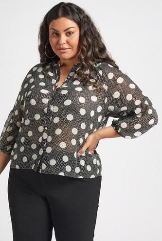 Polka Dot Print Shirt with Mandarin Collar and 3/4 Sleeves