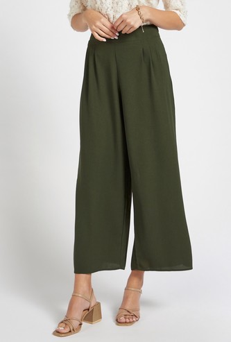 Solid Ankle-Length Palazzos with Pleat Detail