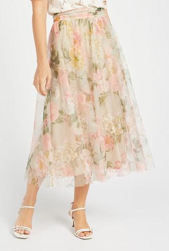 Mesh A-Line Midi Skirt with Pleated Waistband