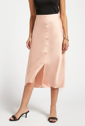 Solid A-line Midi Skirt with Mock Button Placket