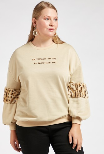 Printed Sweatshirt with Animal Printed Plush Detail Long Sleeves