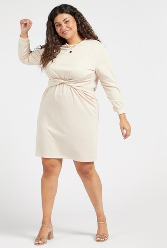 Solid Twisted Front Round Neck Mini Dress with Long Sleeves