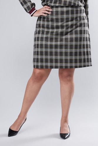 تنورة كاروهات إيه لاين متوسطة الطول