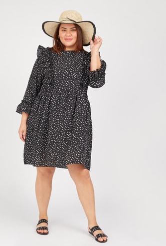 Polka Dot Print Mini Shift Dress with 3/4 Sleeves and Frill Detail