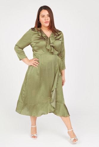 Polka Dot Print Midi Wrap Dress with 3/4 Sleeves and Ruffle Detail