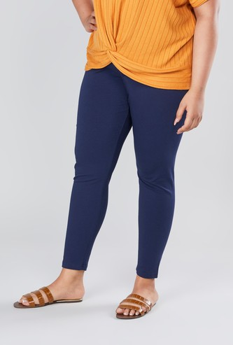 Solid Skinny Fit Leggings with Elasticated Waistband